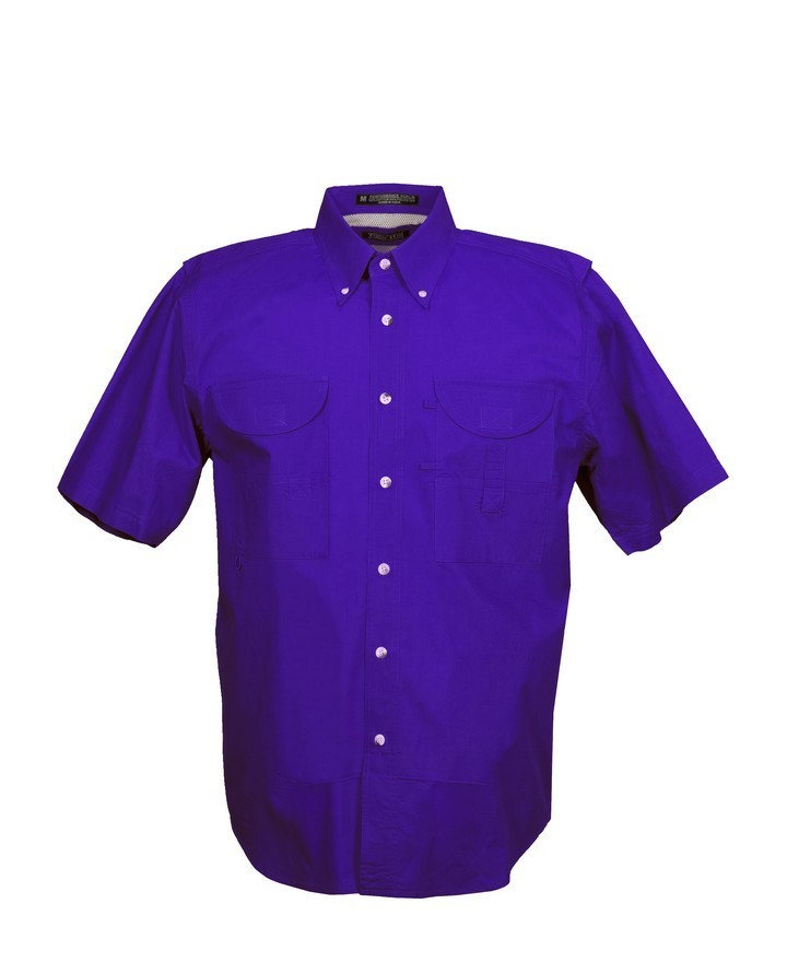 Tiger Hill Men's Fishing Shirt Short Sleeves Purple