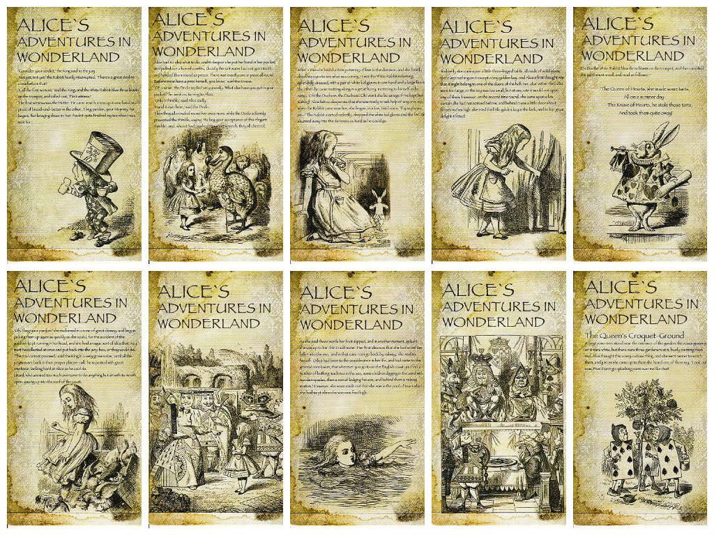 Алиса в стране чудес почтовые открытки