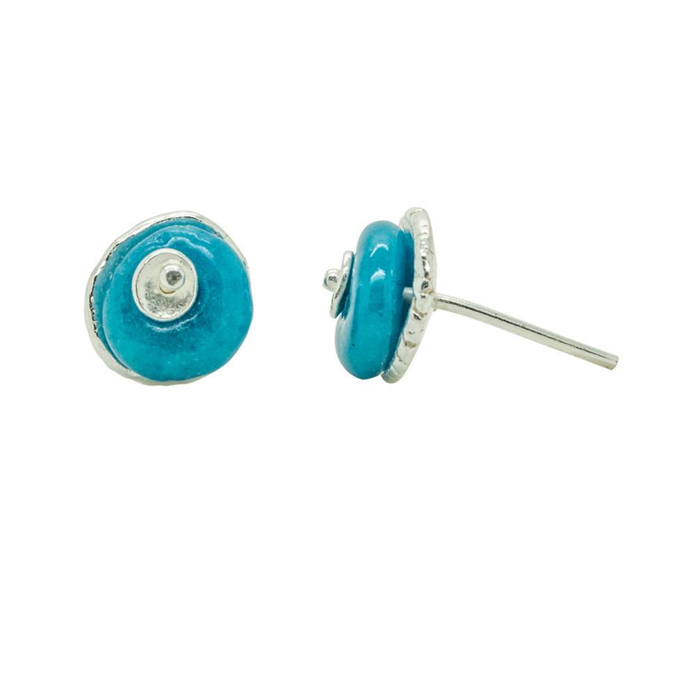 Silver Studs Turquoise Ceramic Bead Handmade Designer Jewellery 00065