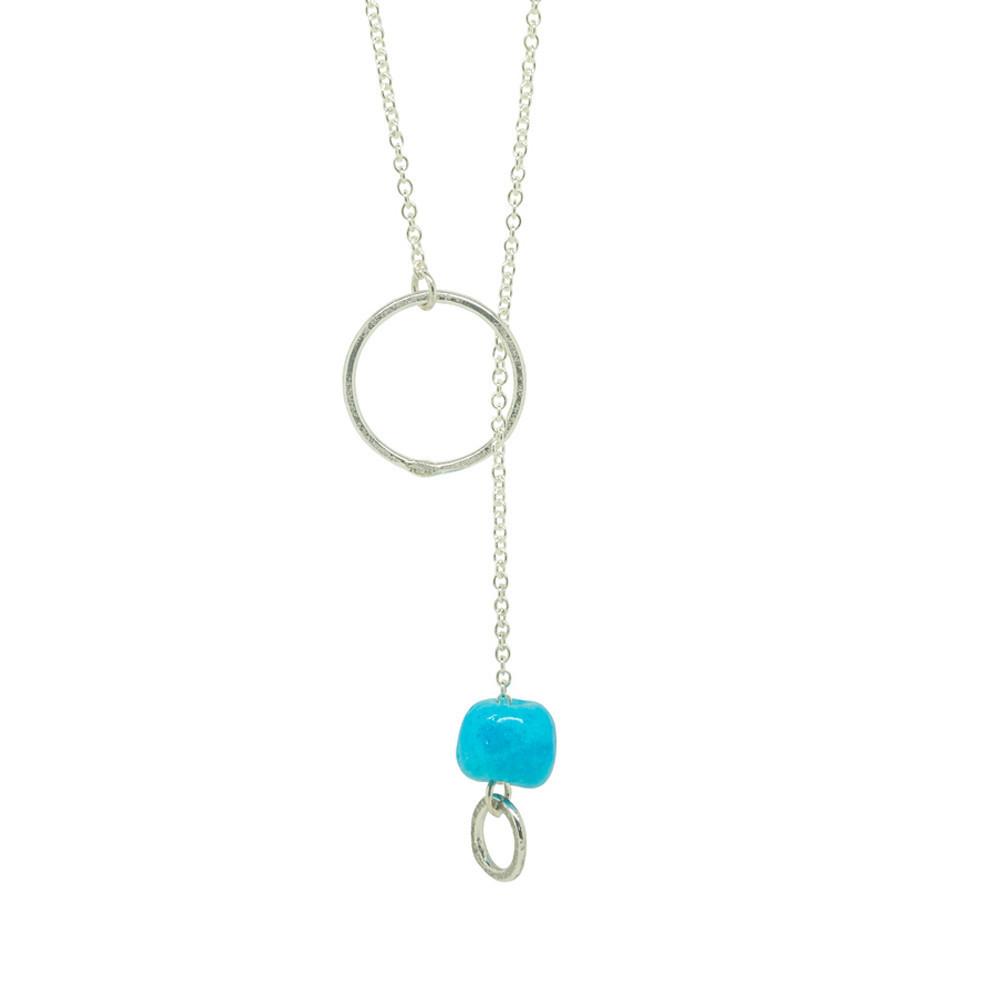 Silver Chain Necklace Turquoise Ceramic Bead Handmade Designer Jewellery 00070