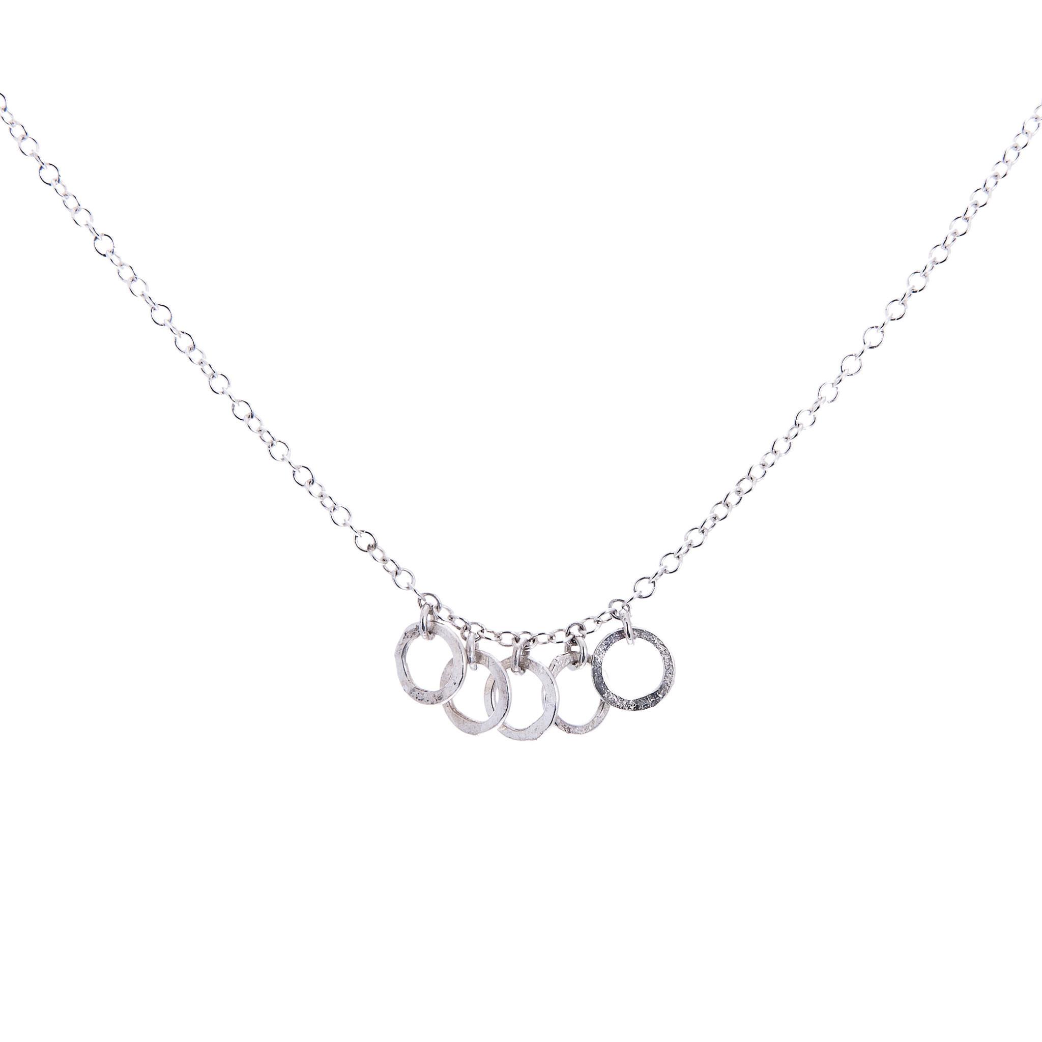 Silver Necklace|Matte Hammered Circles|Handmade Designer Jewellery 00095