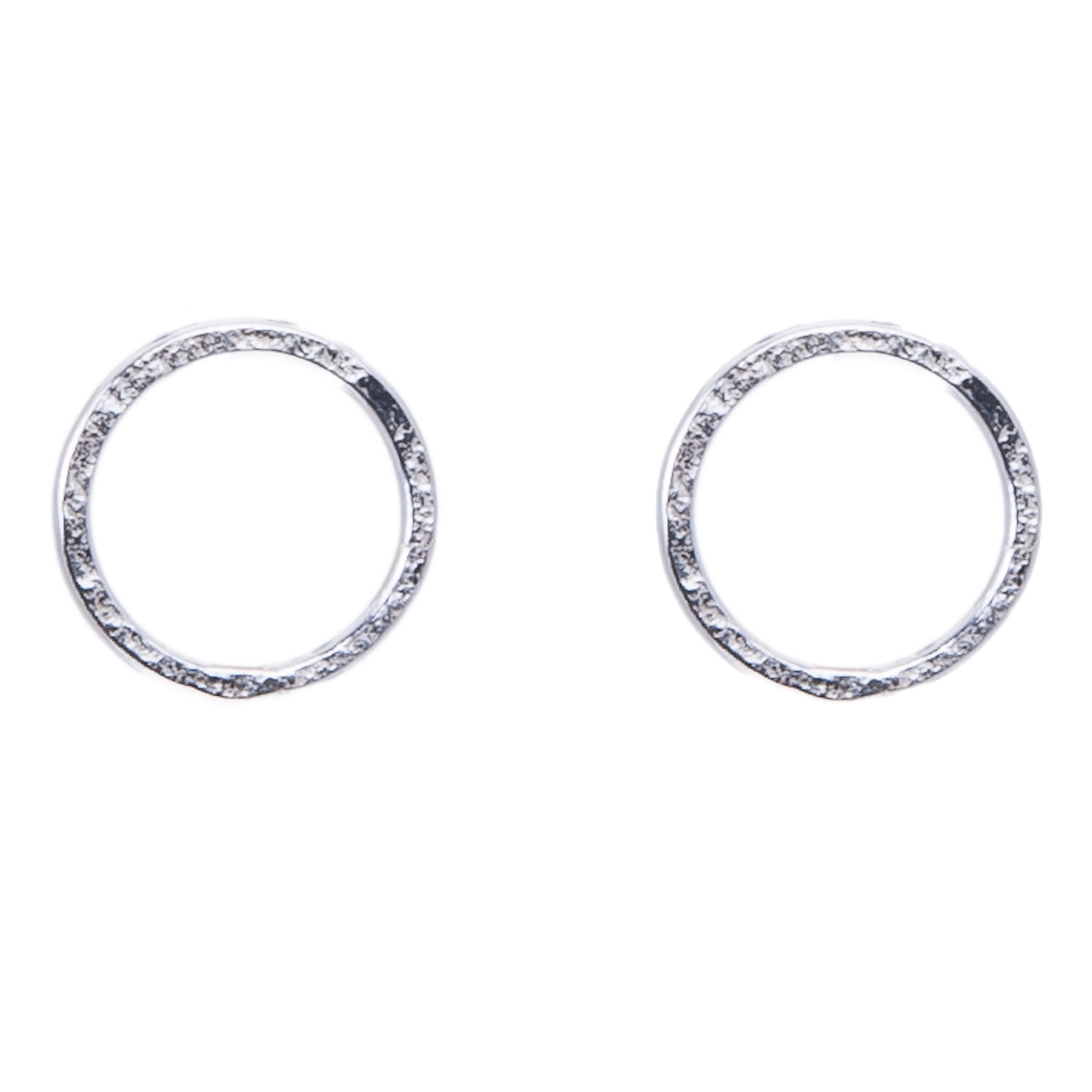 Silver Circle Stud Earrings|Matte Hammered|Handmade Designer Jewellery|Tiny 00106