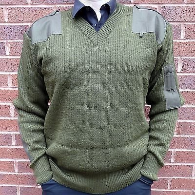 Italian Army New Genuine Olive Wool V Neck Jumpers