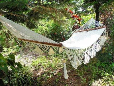 Large Hammock Chair With Crochet Edge Handmade Cotton Beige Indoor Outdoor Hanging