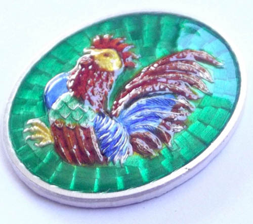 solid silver Gai Fai fa heavenly cockerel coin amulet by LP Suang