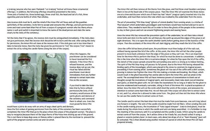 excerpt image screenshot of chaper about Prai oils of Buddha Magic ezine issue 1