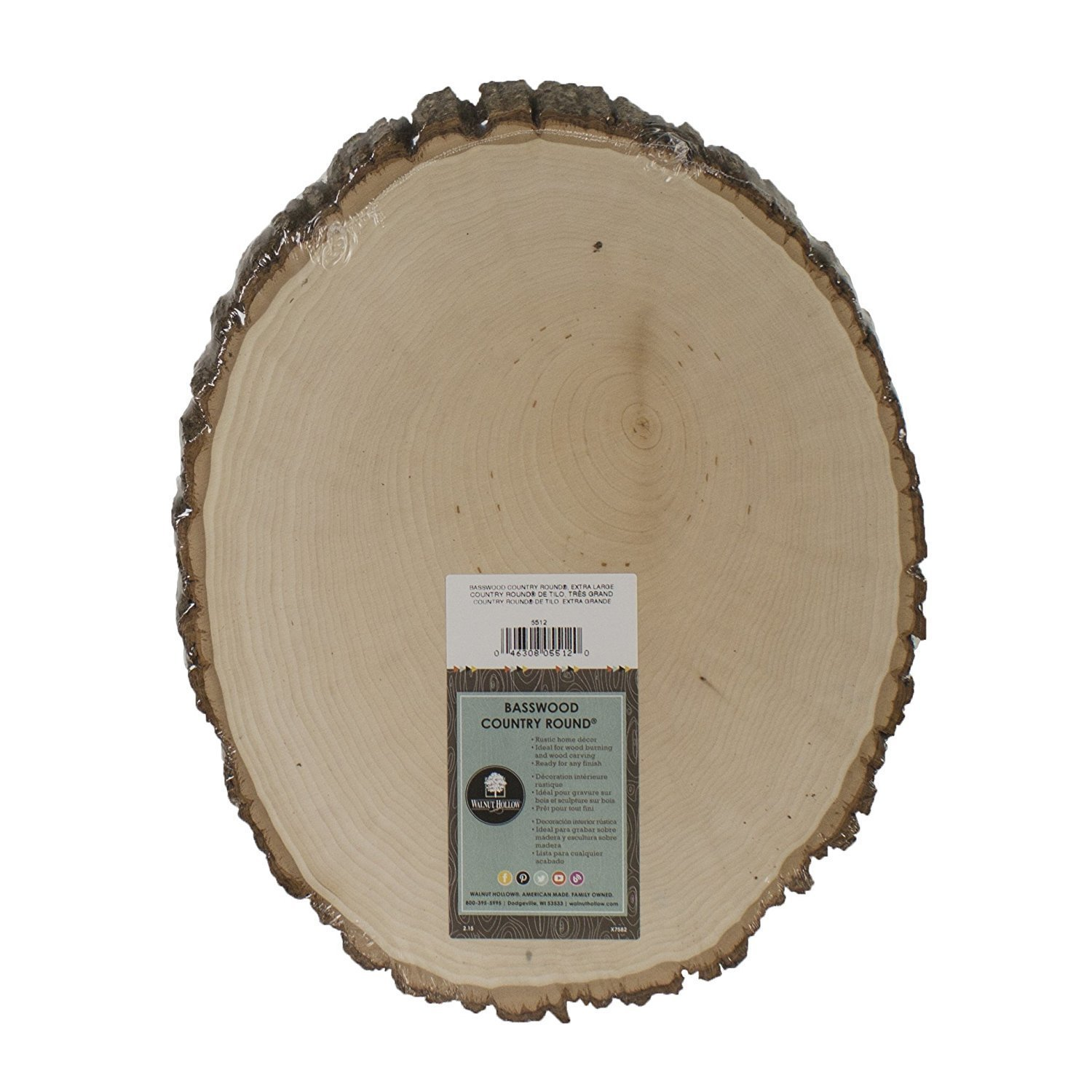"""Extra Large Basswood Rustic Country Round - 11"""" to 13"""" Wide"""