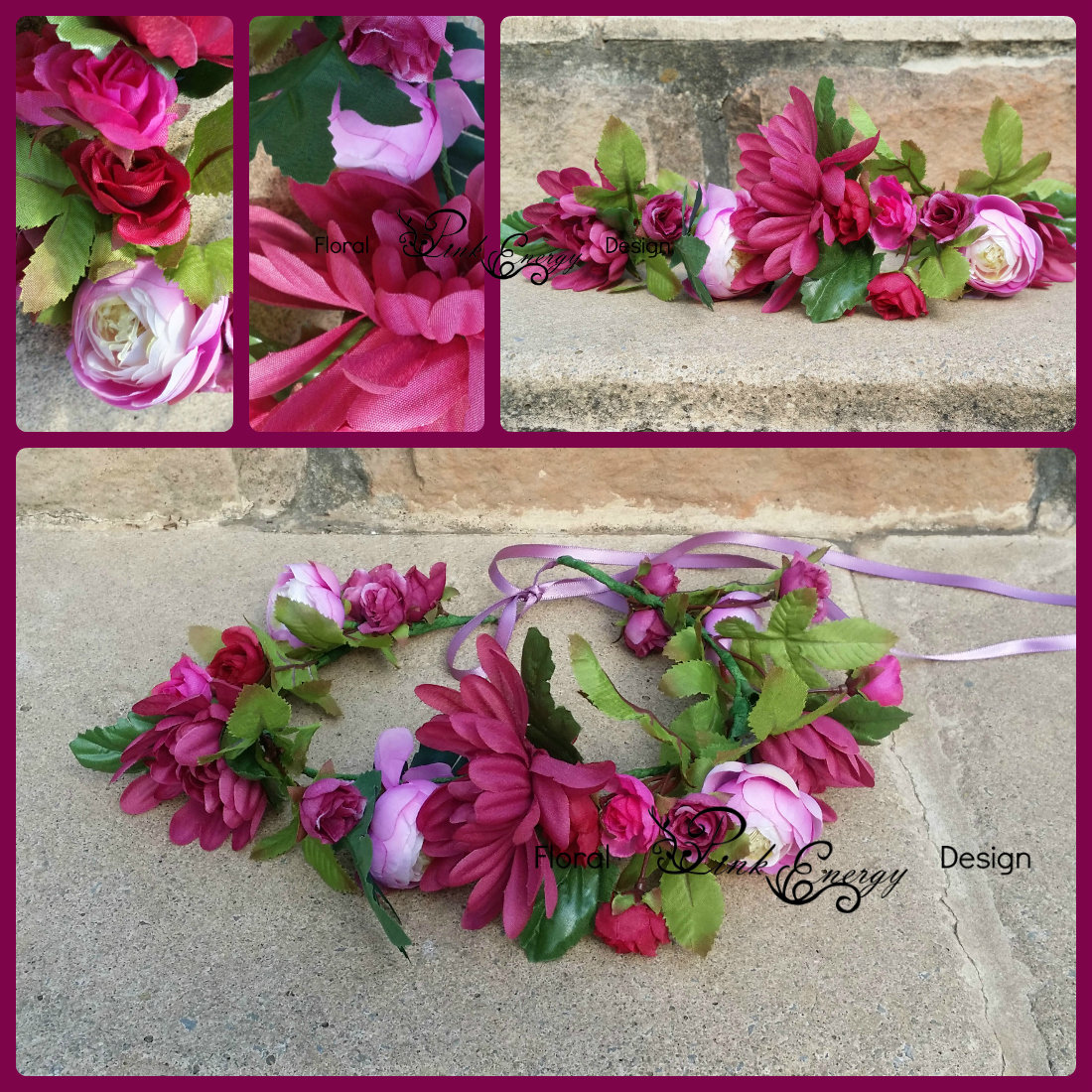 Silk Flower Crown - Soft plum to mauve (ready to ship) FC_06