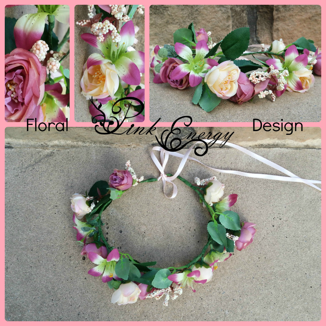 Silk Flower Crown -  Vintage peach and mauve (ready to ship FC_07