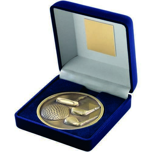 Antique Gold Medallion With Blue Medal Box Golf Award
