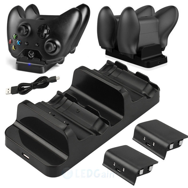 Xbox One Dual Controller Charger Dock Charging Station 2 Rechargeable Batteries