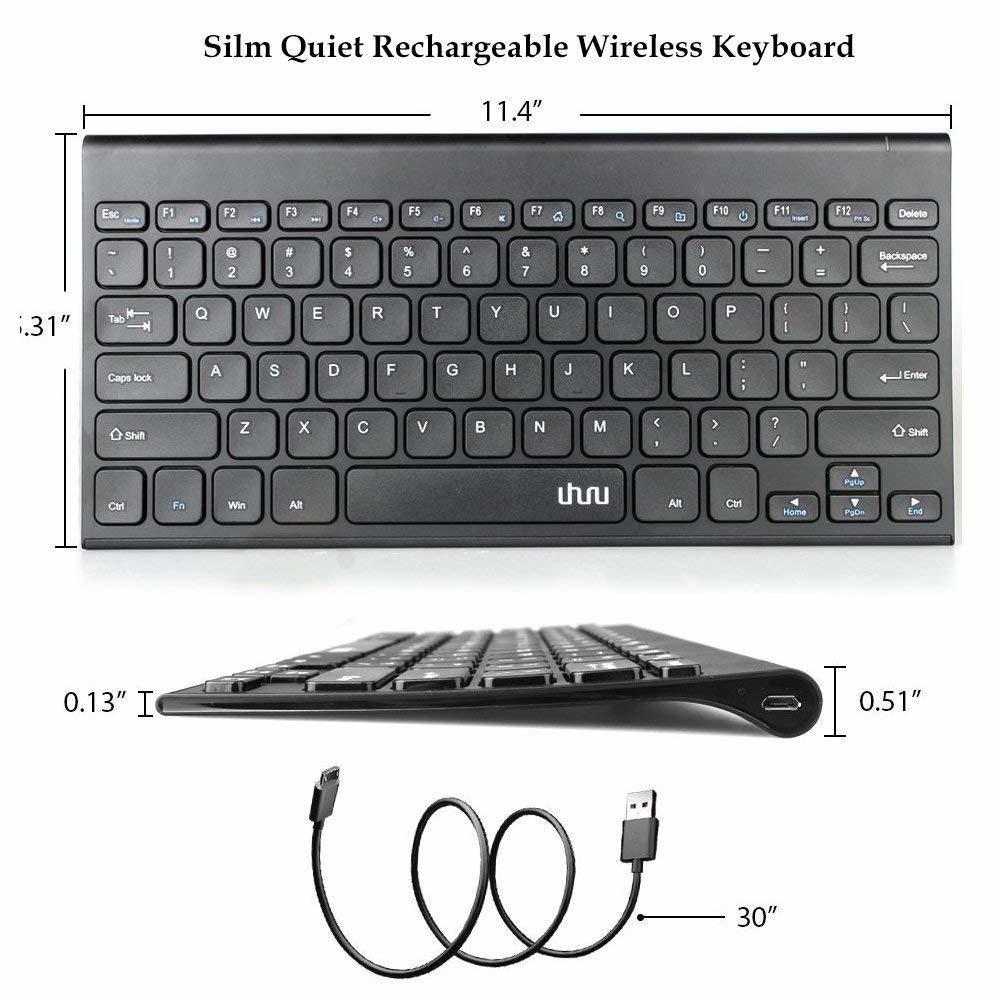 Wireless Keyboard, 2.4GHz Rechargeable Keyboard for Smart TV, Notebook, Laptop, Surface Pro, Windows 10/8/7/ Vista/XP (78 keys)