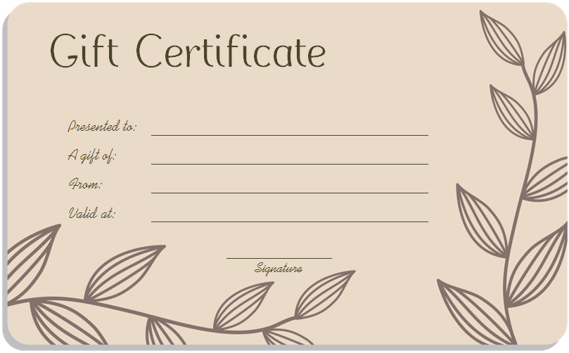 Gift Certificate Redeemable For Lodging & Rentals GIFTCERT