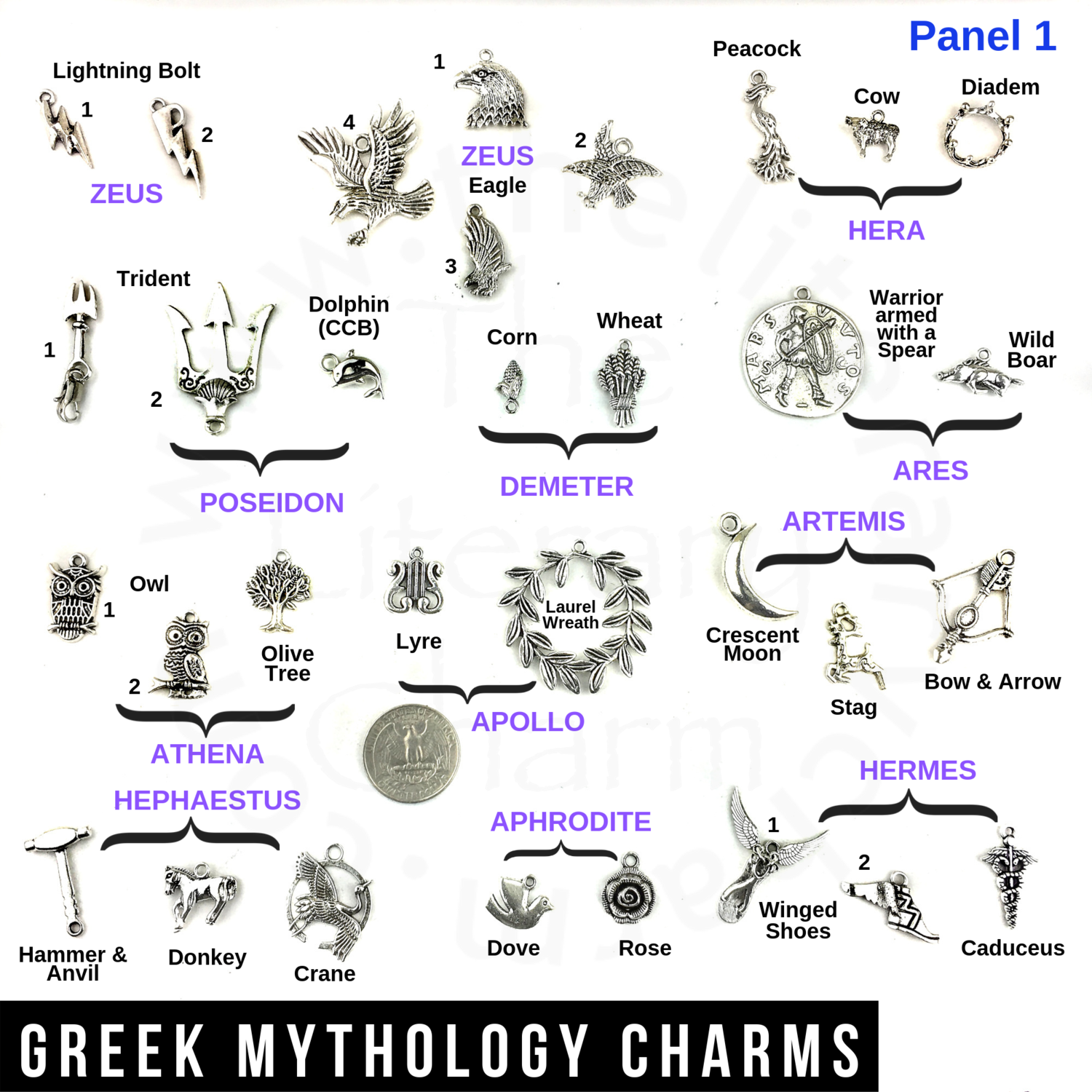 Greek Mythology Charms, Greek Gods Goddesses Symbols ...