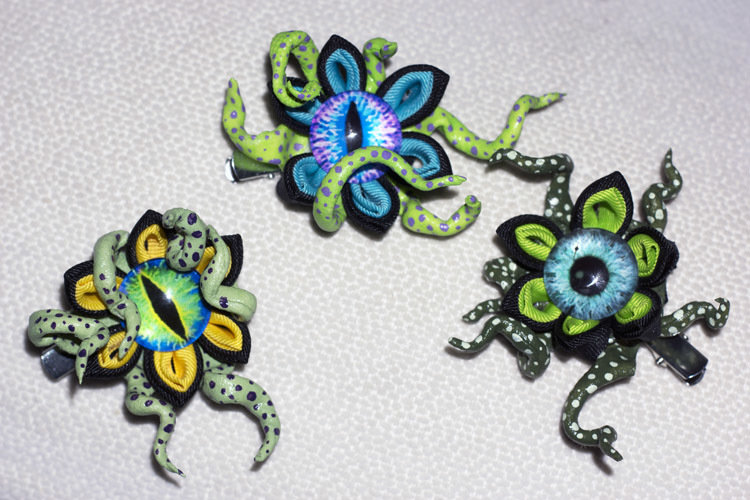"Eyeball Tentacles ""Creepy Kanzashi"" Hair Ornaments K-001"
