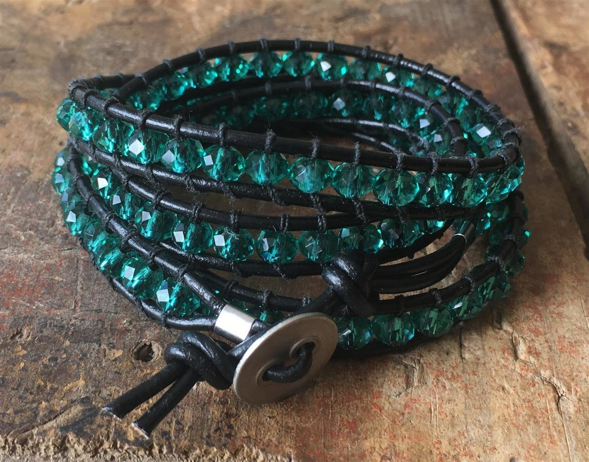 Wrap Bracelet Jade Glass and Black Leather 012