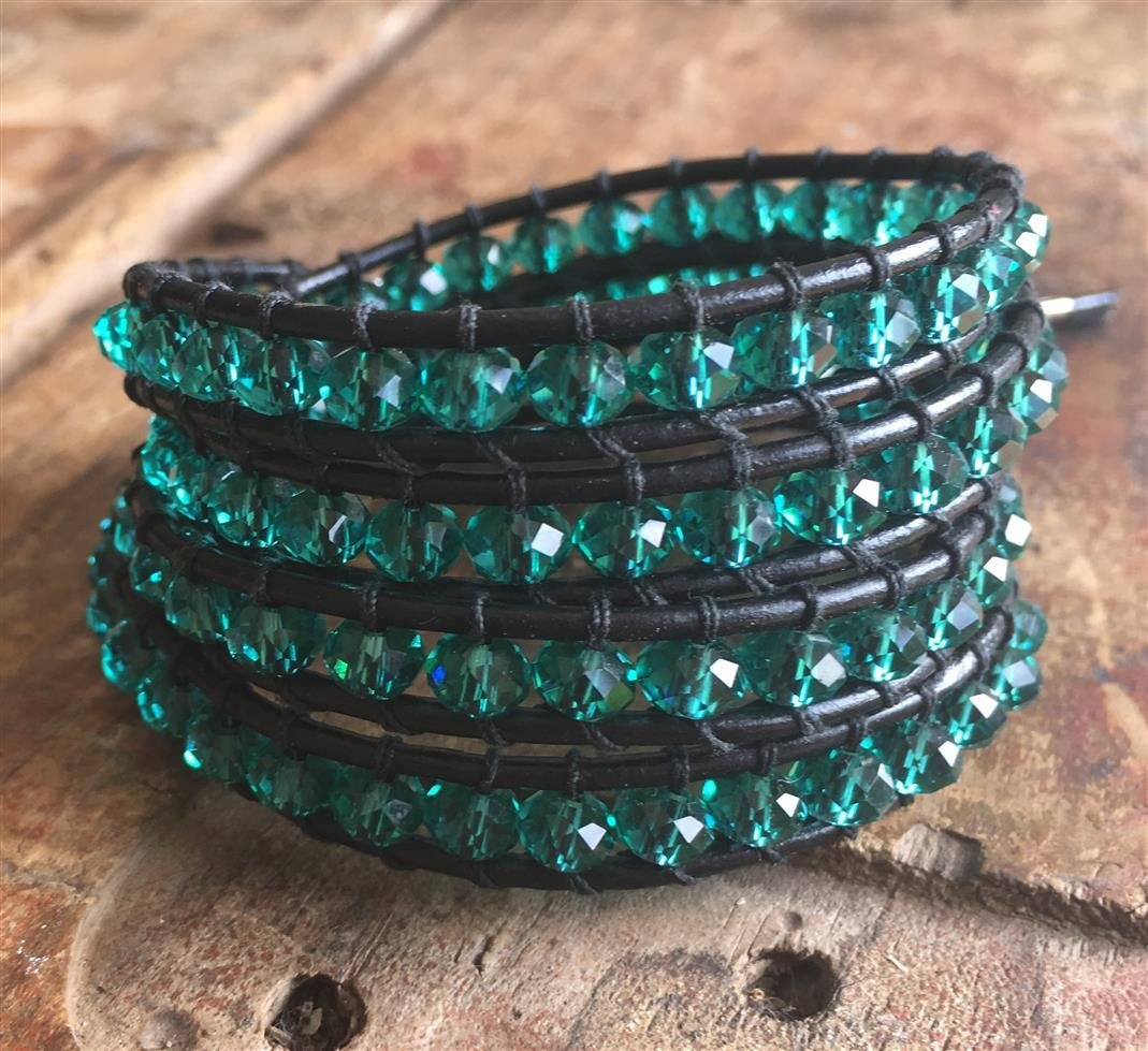 Wrap Bracelet Jade Glass and Black Leather