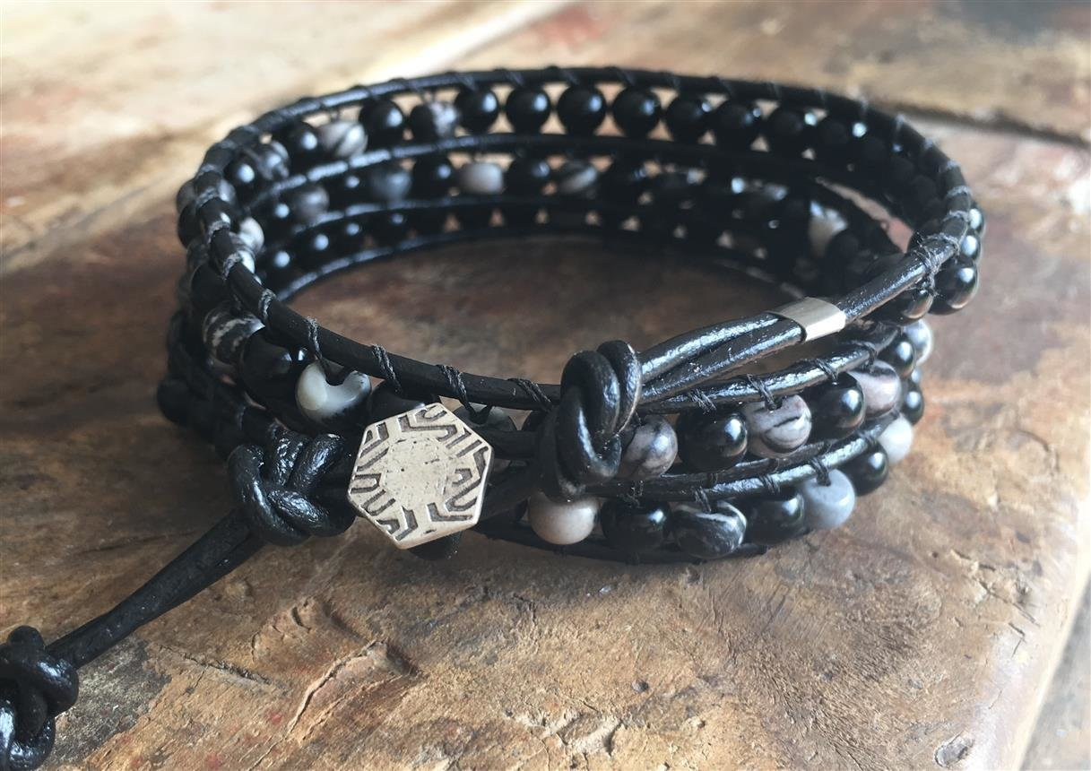 Leather Wrap Bracelet Black Glass and Quartz 003