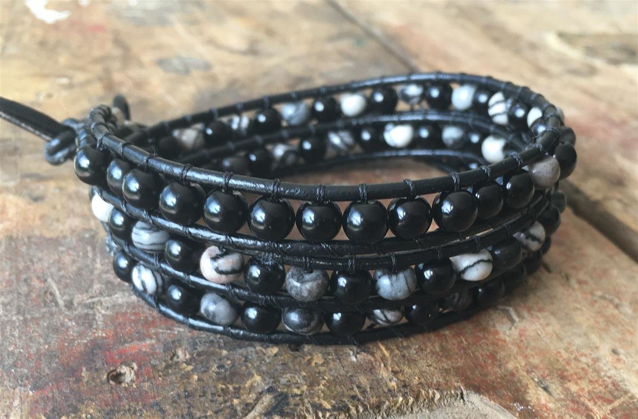 Leather Wrap Bracelet Black Glass and Quartz