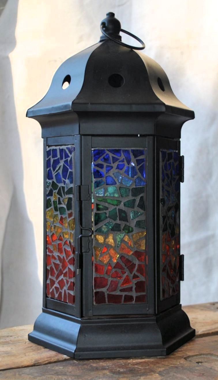 Gazebo Style Stained Glass Lantern 00016