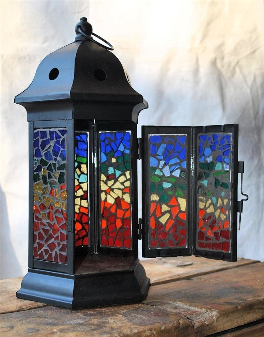 Gazebo Style Stained Glass Lantern