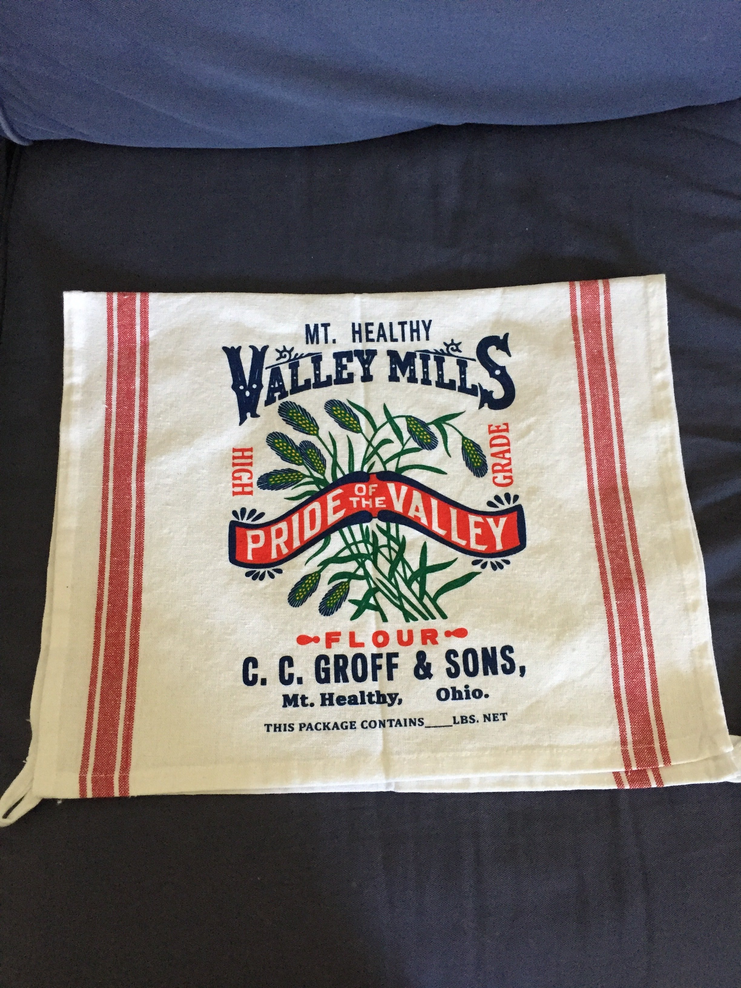 Pride of the Valley tea towel (available in red or green stripe) 00007