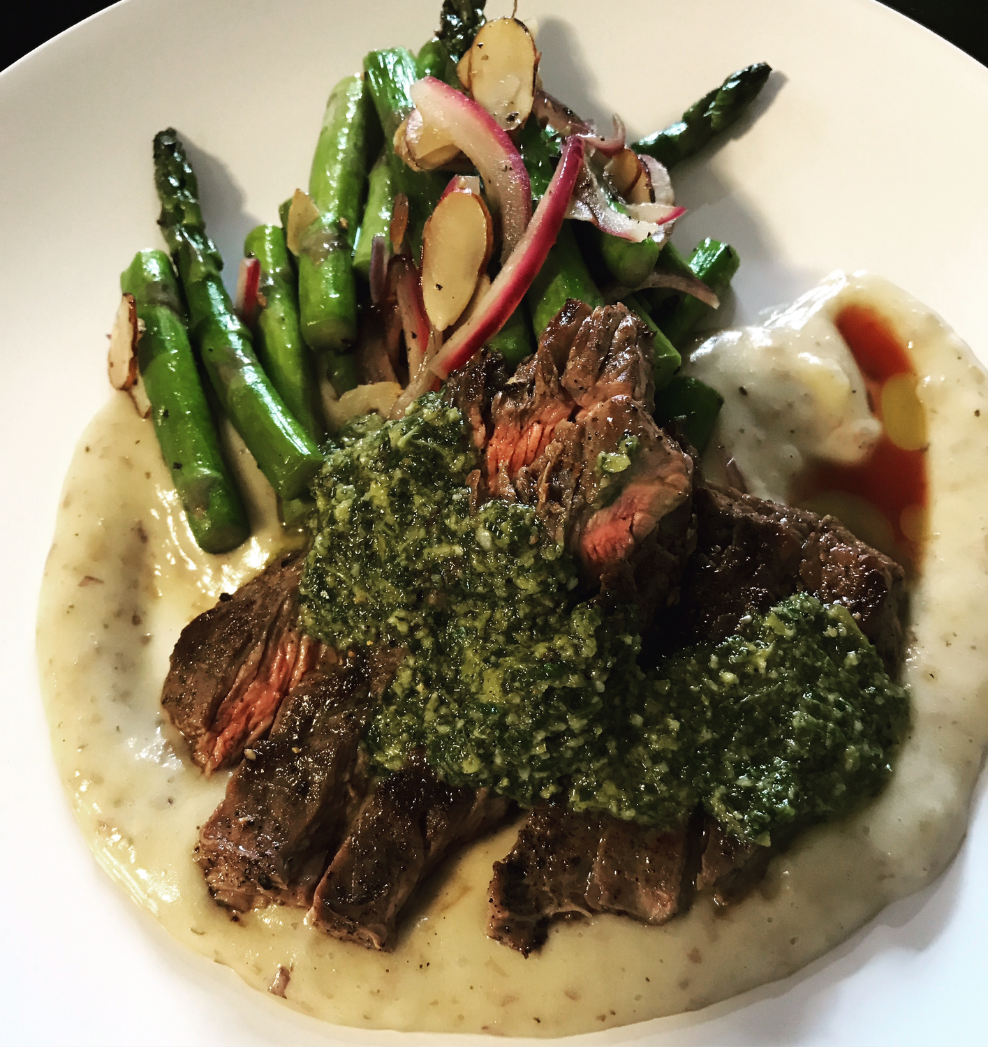 Steak chimichurri w/ cauliflower Puree
