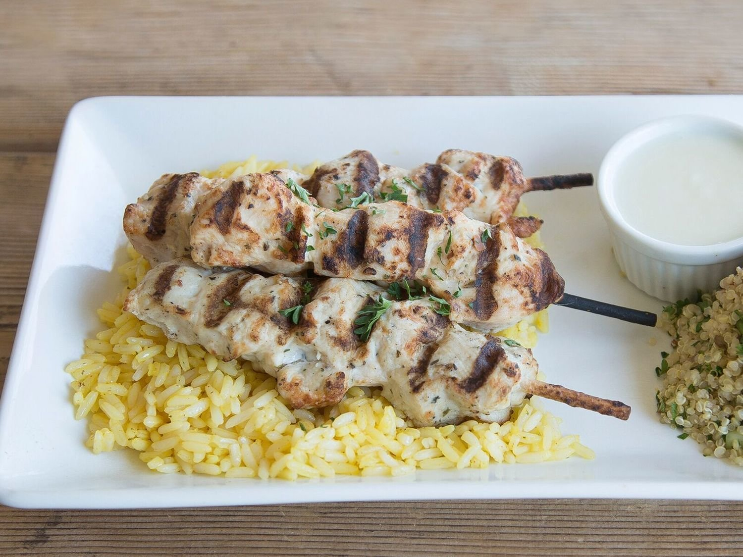 Armenian Chicken Skewers W/ Quinoa tabbouleh + Garlic Sauce