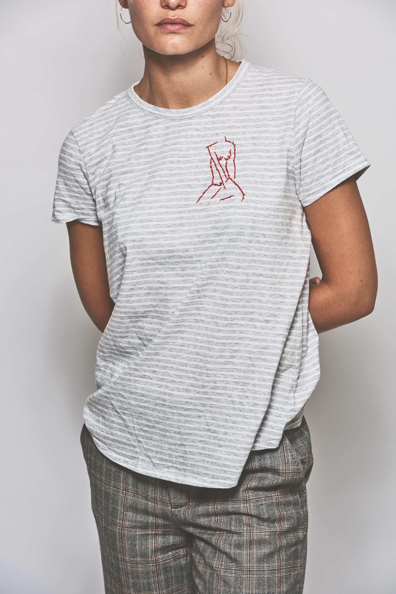 The Striped Red Sitting Woman T-Shirt 69699
