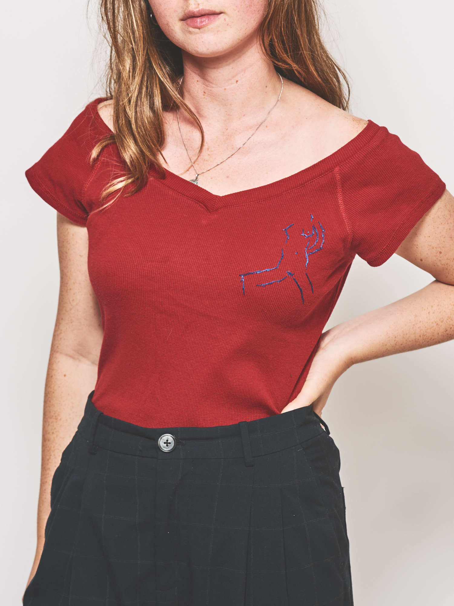 The Blue Woman Spreads on Red Shirt 69696