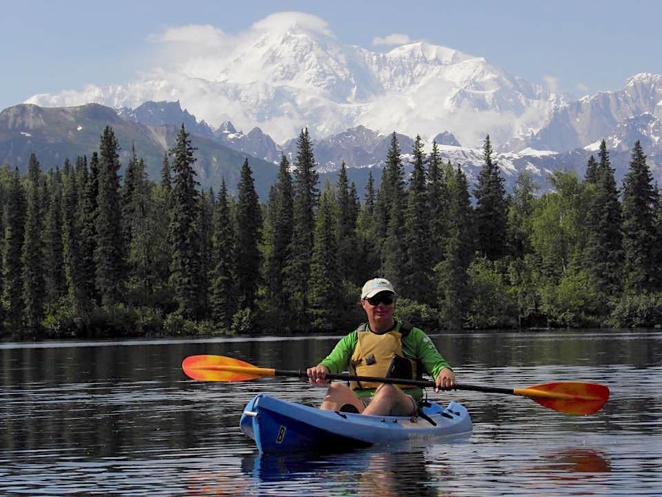 Kayaking Byers Lake with Beautiful Denali for a Backdrop