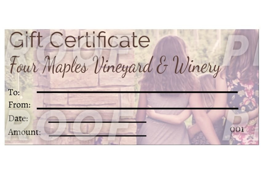 GIFT CERTIFICATES FMVGIFTCERTS