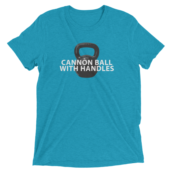 """Kettlebell T-Shirt- """"Cannon Ball With Handles"""" 00009"""