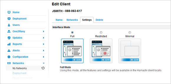 Configure settings for individual networks