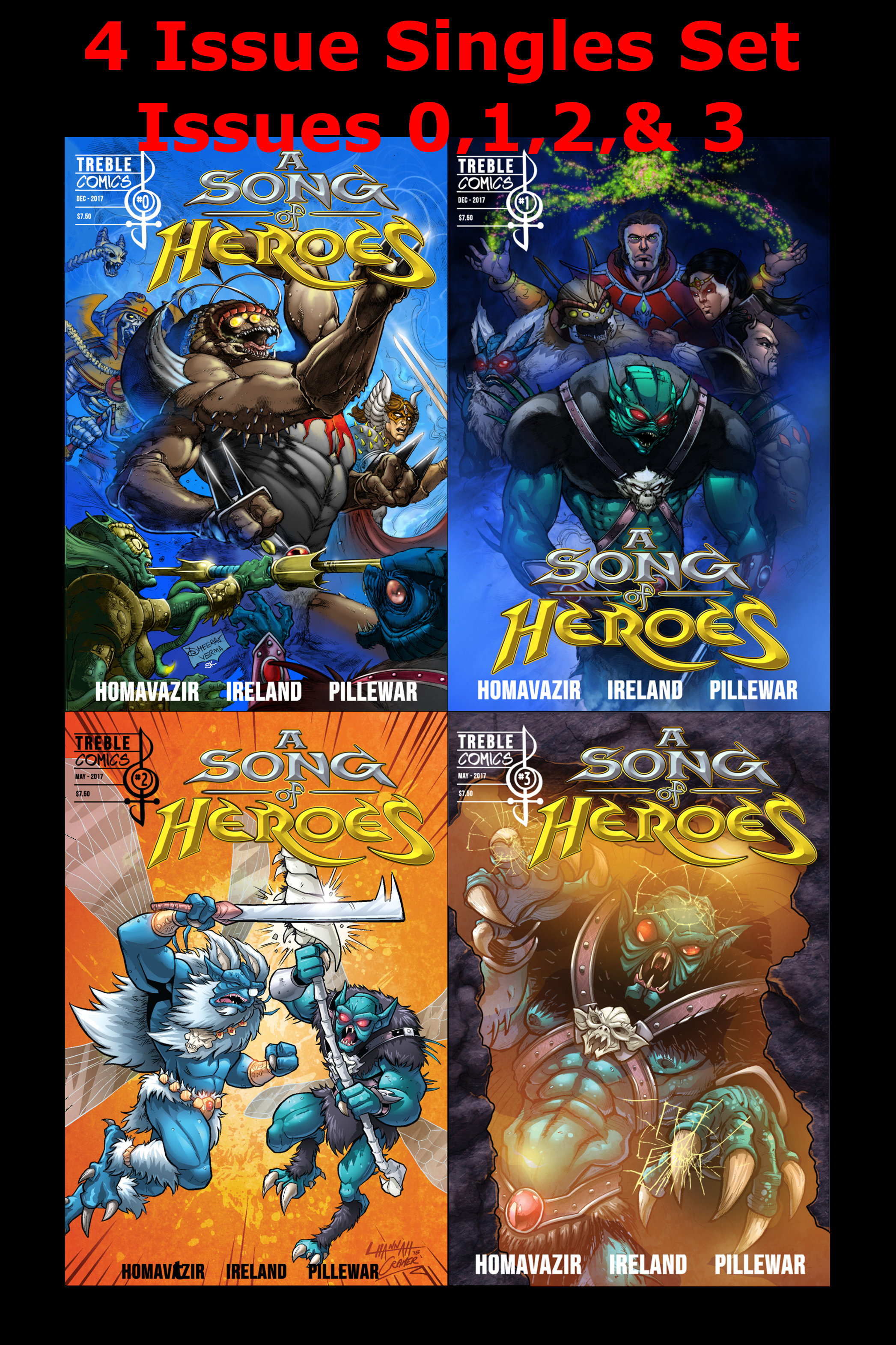 A Song of Heroes SINGLES SET! (Issues 0,1,2 & 3 In single issue format) ASOHV1SS