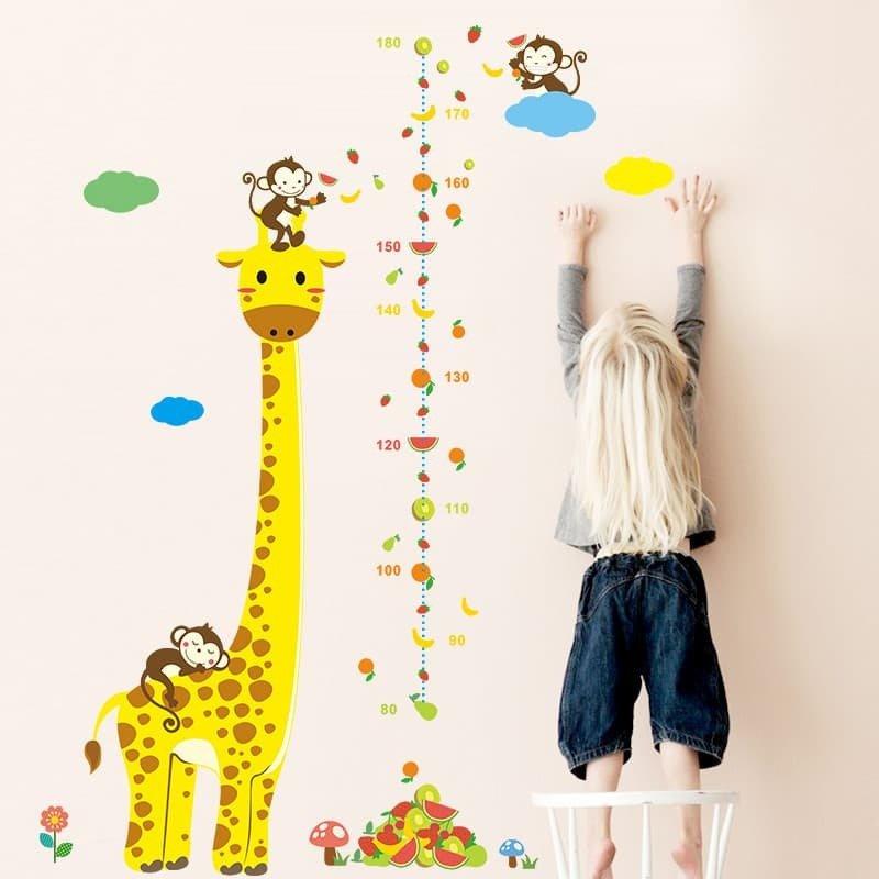 Ростомер-наклейка «Жираф и обезьянки» 00062