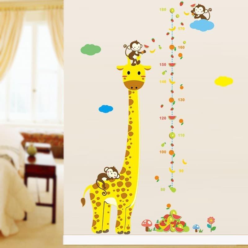 Ростомер-наклейка «Жираф и обезьянки»