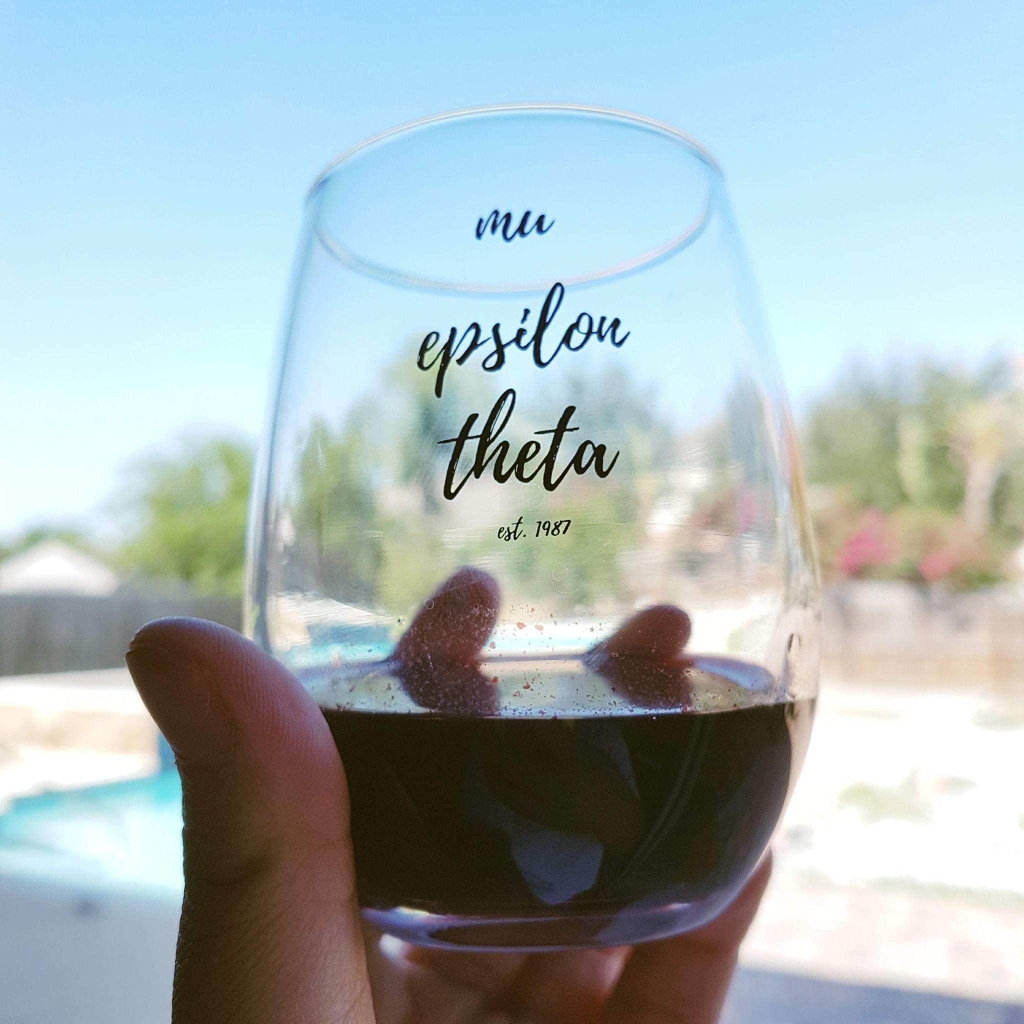 Mu Epsilon Theta Stemless Wineglass 10004