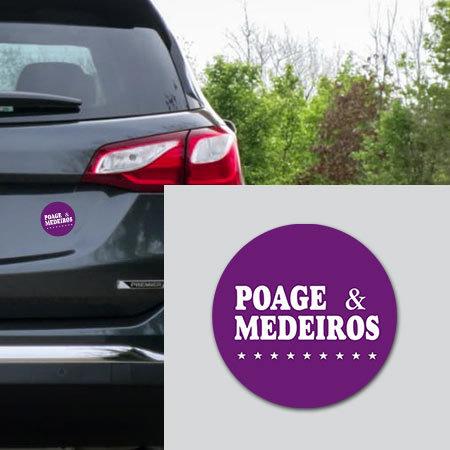 "4 - inch ""Poage & Medeiros"" Car Magnet Poage Magnet"