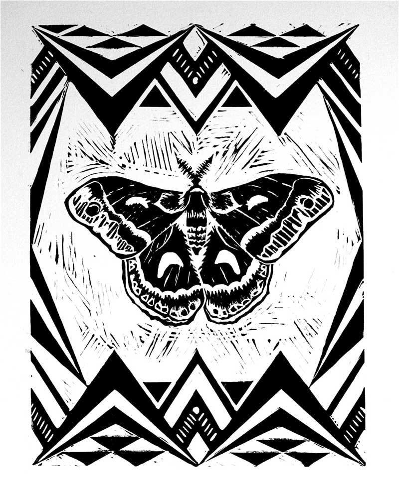 Silk Moth linocut print