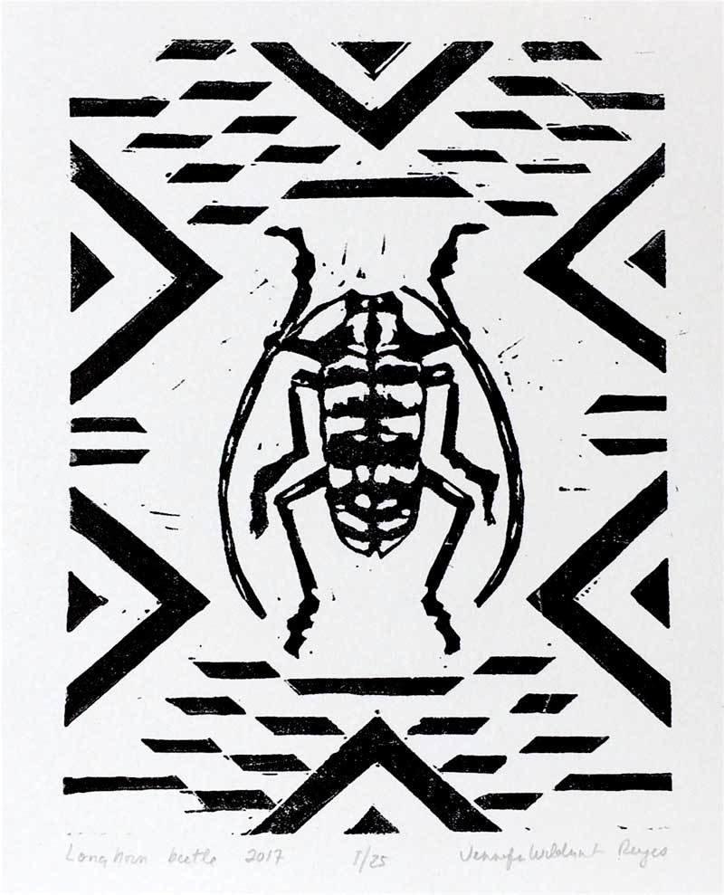 Longhorn beetle linocut print
