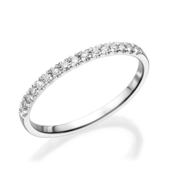 No. 8 Love In Infinity Engagement Diamond Wedding Band in 14K White Gold 0.12 Carats Ref.MKBAND - No. 8 Collection
