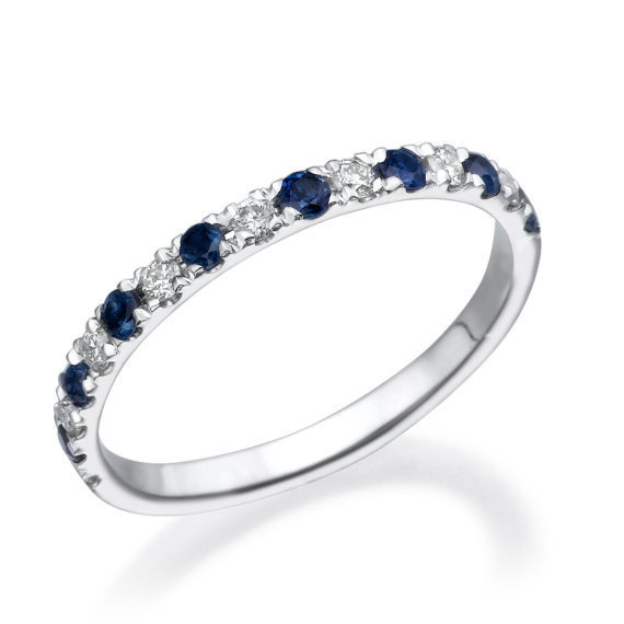 No. 8 Love In Infinity Engagement Diamond Wedding Band with Sapphire 14K 0.38 Carats Ref.2201 - No. 8 Collection