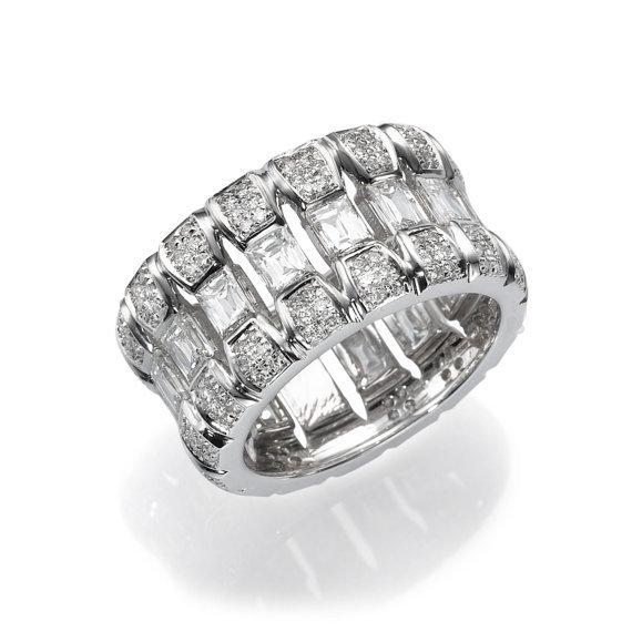 White Gold Diamond Ring Wide Diamond Band, 3.97 CT Emerald Cut Diamond Ring, 18K White Gold Ring, Statement Ring, Wide Band Ring  白金鑽石戒指寬版