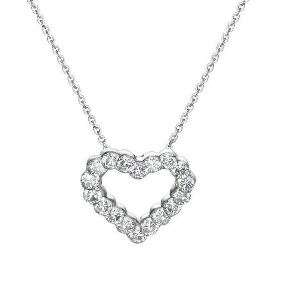 Diamond Heart Necklace, Heart Pendant Necklace, 18K White Gold Necklace, 1.05 Carat Diamond Pendant, Anniversary Gift, Free Gold Chain 白金心型鑽石墬子 附贈金鍊