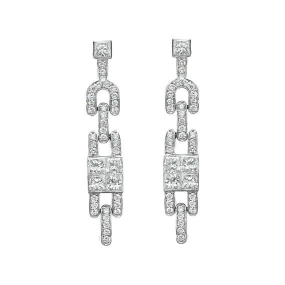 Princess Cut Diamond Earrings, Cocktail Earrings, 18K White Gold Dangle Earrings, 1.33 TCW Diamond Drop Earrings, Delicate Bridal Earrings 白金鑽石耳環 紀念生日禮物