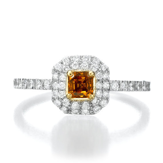 Brown Diamond Ring, 18K White Gold Engagement Ring, Double Halo Ring, 0.57 TCW Unique Engagement 白金棕色彩鑽戒指