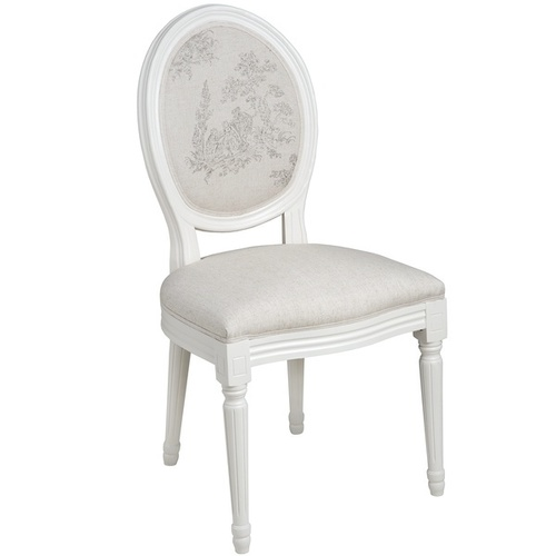 f93847fec6c Pavilion Round Backed Dining Chair - White With Beige Linen