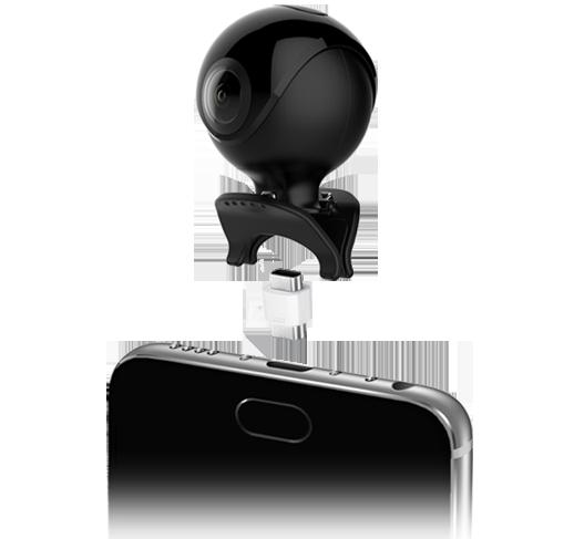 Mini caméra 360° 2 objectifs pour smartphone - ASTRO 360 - noire