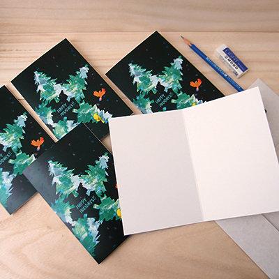 Star Tree Holiday Card Set (set of 5)